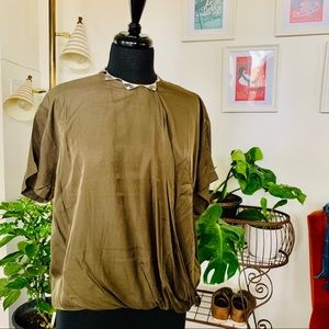 🆕🌿Press   Olive Green Tunic/Wrap Top